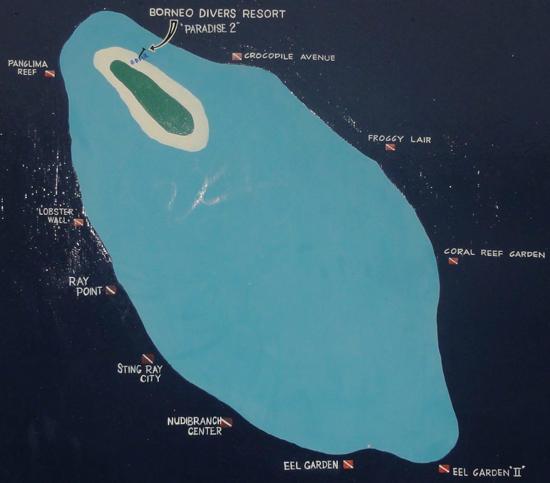 マブール島のダイブサイトマップ