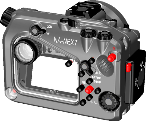 NA-NEX7ハウジングのCAD画像(背面)