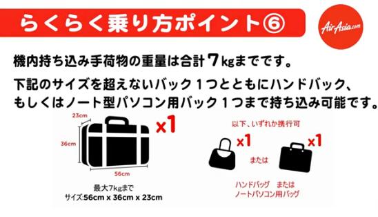 ジェットスターの機内持ち込み手荷物