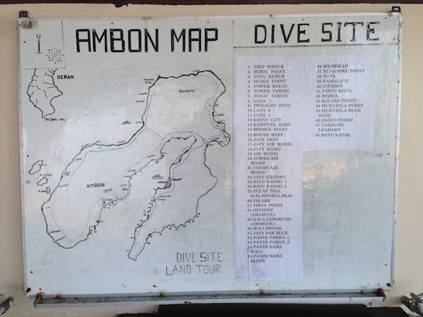 アンボンのダイブサイトマップ