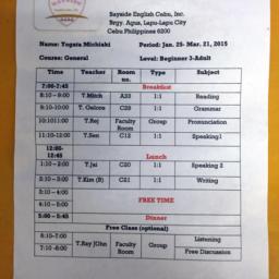 BAYSIDE English Cebu RPCでの私のスケジュール表