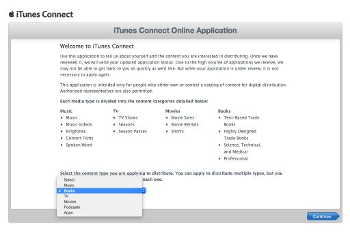 iTunes Connectで販売するコンテンツ種別を選択するページ