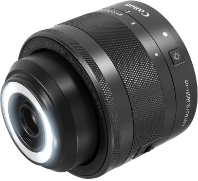 Canon EF-M 28mm F3.5 Macro IS STMのLEDライト