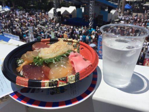 神津島の海鮮丼と八丈島の焼酎「島の華」