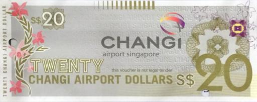 チャンギ空港の金券(S$20)