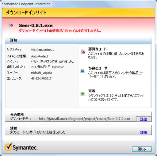Symantecの警告