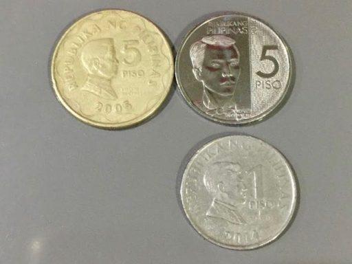 新旧5ペソ硬貨