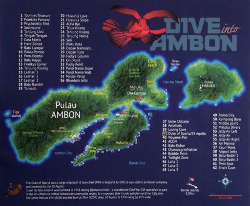 DIVE INTO AMBONのダイビングマップ