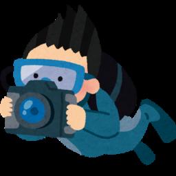 水中カメラマンのイラスト