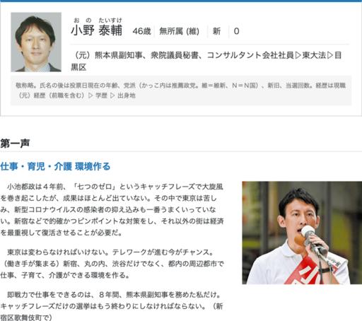 東京都知事選2020小野泰輔候補
