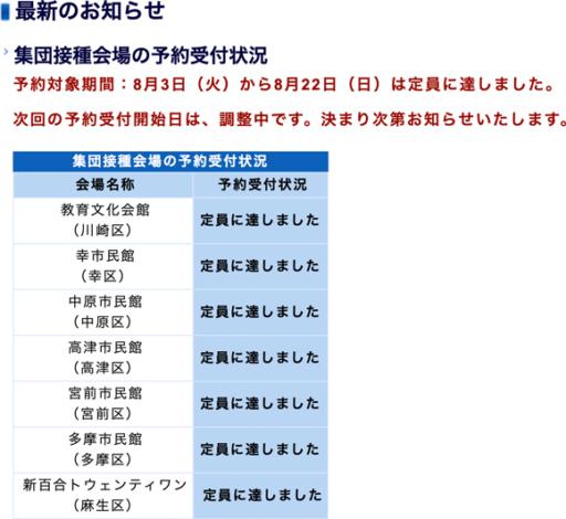 川崎市のワクチン接種受付け