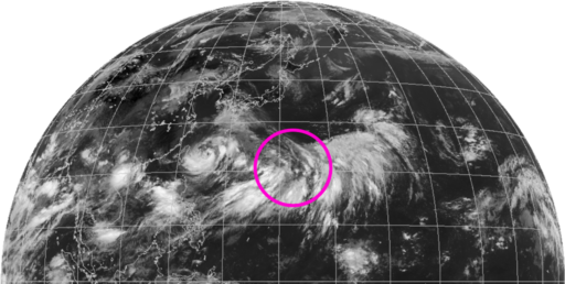 気象衛星ひまわりの衛生画像(2021年7月22日)